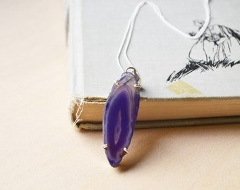 Sterling Silver Violet Agate Crystal Necklace