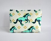 Aqua blue horse metallic gold cross padded woman's travel cosmetics make up pouch Modern animal print in aqua green in large.
