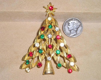 Vintage Christmas Tree Brooch With Red Green Clear Rhinestones 1960's Jewelry Pin A63