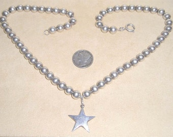 Vintage Sterling Silver Beaded Necklace With Star Charm 1970's Signed Jewelry 2306