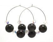 Nephrite Jade & Swarovski Crystal Silver Hoop Earrings