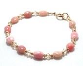 Pink Opal & Gold Swarovski Crystal Bracelet