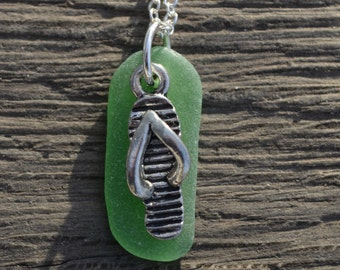 Sea Glass Jewelry Flip Flop and Green Sea Glass Necklace