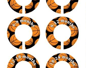 6 Basketball Baby Closet Dividers, Basketball Nursery Decor, Nursery Dividers, Closet Organizers, Baby Shower Gift , Baby Gift, NB-24 (233)