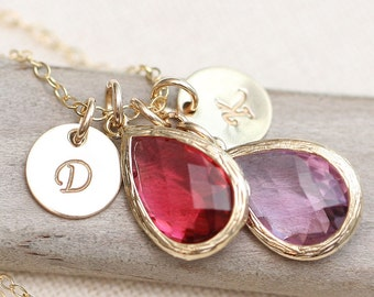 Gold Initial Necklace, Hand Stamped Mother's Necklace with Birthstones, Birthstone Jewelry, GOLD Personalized Necklace