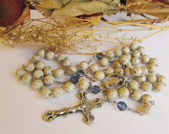 Flower petal rosary or prayer beads using your special items from funeral, wedding, first communion or keepsake