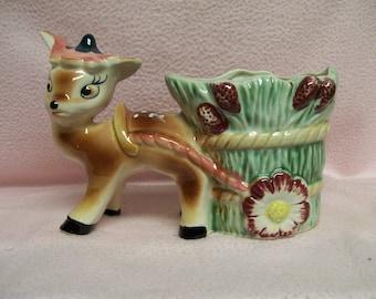 Deer Planter Vintage 1955 Sweet Bambi like Deer Planter Cart