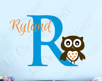 Owl Wall Decal Baby Boy Name Wall Decals Nursery Monogram Vinyl Lettering Children Kids' Wall Art Personalized Decor