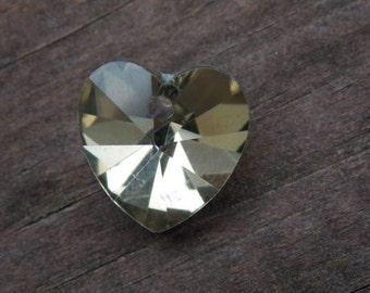 12 Gold Crystal Heart Bead Charms 14mm