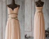 2017 Peach Bridesmaid Dress, Chiffon Prom Dress Long, Formal Dress, Criss Cross Straps Evening Dress floor length (F062A1)-Renzrags
