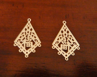 2 pcs Silver Plated Brass Kite with Good Luck Symbol Lazer Lace Drop Charm with 5 Loops Sale 50% OFF