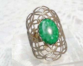 Adjustable Huge Green Stone Ring Ornate Costume Jewelry