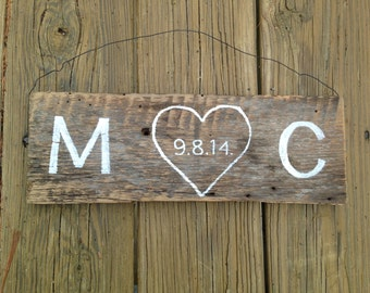 Wedding wood sign Anniversary wood sign  Pesonalized wedding sign Rustic wedding wood sign, beach wedding sign, initial wood sign