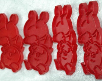 4 Vintage Tupperware Varied Red Pigs Cookie Cutters - FREE SHIPPING