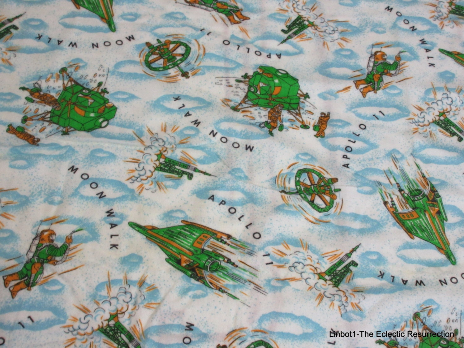 1960 Novelty Lighting : Vintage 1960s Novelty Print Flannel Fabric Apollo 11 by linbot1