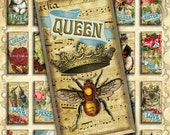 """Victorian Steampunk Queen Bee with Crowns, Paris, Cats, Dogs - 1x2"""" Domino Tiles - Digital Collage, Jewelry Printables, Instant Download"""