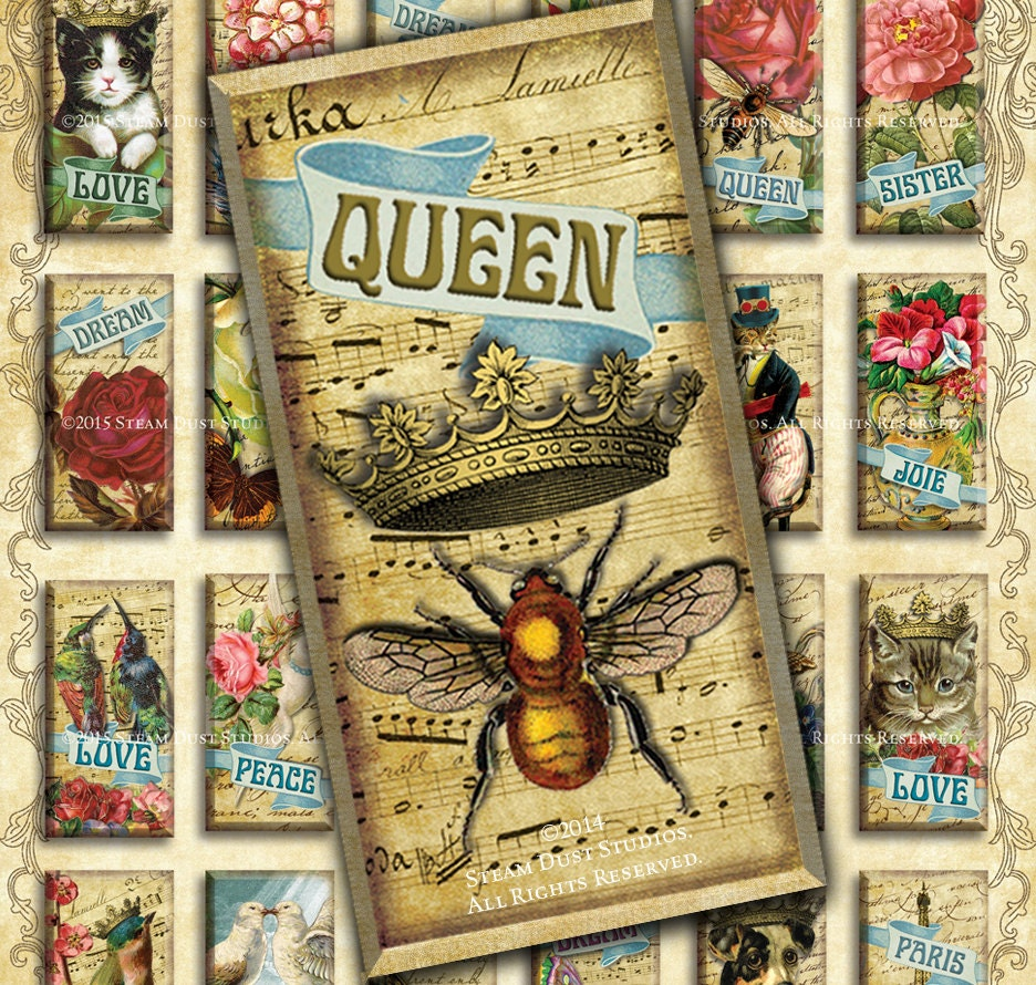 victorian steampunk queen bee with crowns paris cats dogs 1x2 domino tiles digital. Black Bedroom Furniture Sets. Home Design Ideas