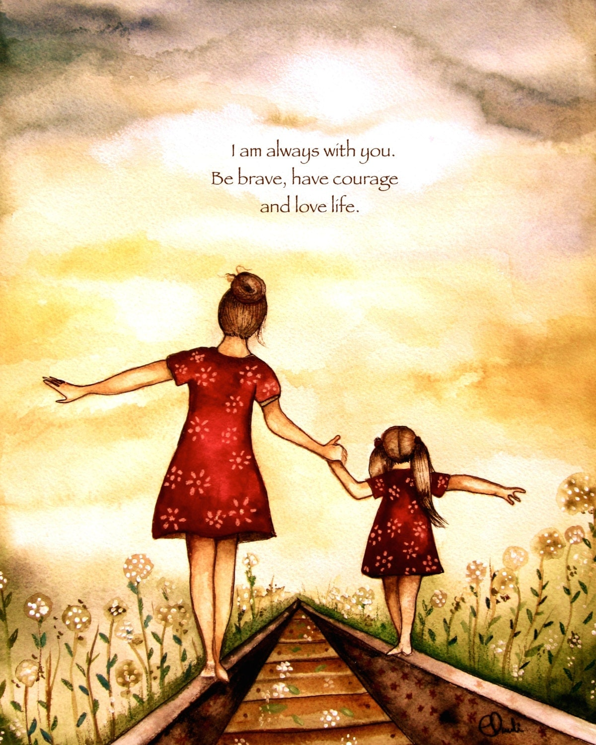Mother Daughter Love Quotes Mother And Daughter Our Path Art Print Gift Idea Mother's Day