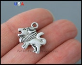BULK 25 LION Charm Pendants - 16mm Antiqued Silver Double Sided Lion Leo Zoo Animal Pendant Charm - Instant Ship - USA Discount Charm - 6146