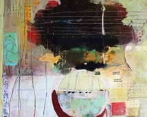 1 pack - FIVE Notecards - Reproductions of Mixed Media Paintings by Pamela Caughey