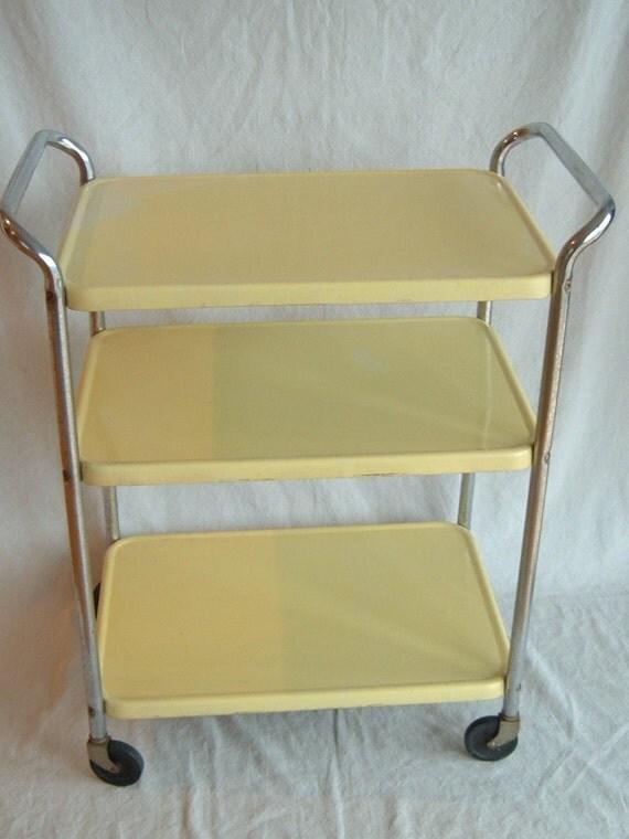 mid century three tiered yellow cosco kitchen bar utility cart