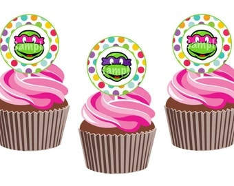 INSTANT DOWNLOAD: Girl Turtle Cupcake Toppers / Tags