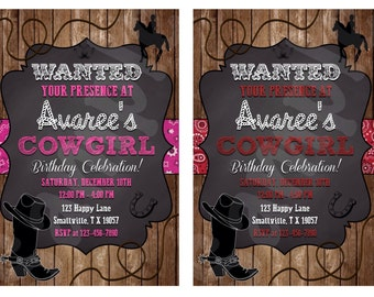 Cowgirl Birthday Invitation (CG01)