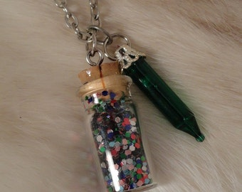 Christmas Lights Bottle Necklace, Christmas Jewelry