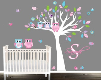 Wall Decal, nursery wall decal, Owl Nursery Decal, baby owl wall decals, personalized name