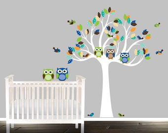 Baby boy nursery wall decal, owl wall Decal, tree wall stickers, owl wall decals