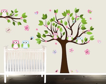 Peel and Stick Nursery Tree Decals, Natural Wall decals nursery,  Pink Flowers Tree Wall Stickers, Removable owl wall decals