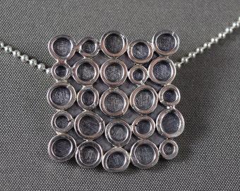 Square silver pendant, circles, balls, geometric, recycled silver, handmade