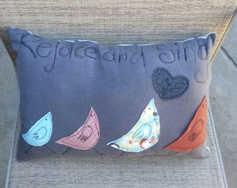 Rejoice And Sing Machine Appliqued Novelty Pillow - Love With Faith
