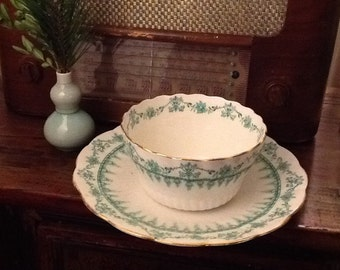 Antique R&D Redfern and Drakeford Bone China Serving Bowl and Plate Green Transferware Early 1900s