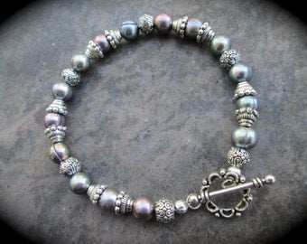 """SPECIAL Peacock Freshwater Pearl Bracelet 7 1/2"""" Wedding Jewelry Gift Bridesmaid Gift"""