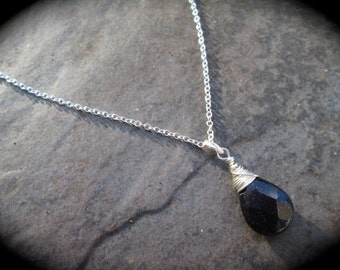 "Navy Blue Goldstone  faceted briolette necklace 18"" sterling silver chain Navy Blue Gemstone wire wrapped briolette"
