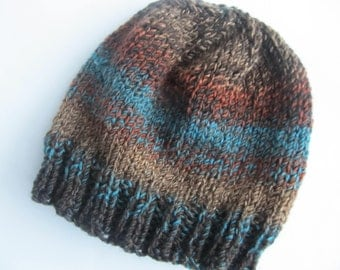 Brown, Rust and Turquoise Handknit Hat. Woolblend knit Hat, OOAK hat, Child's Knit Hat, Chemo Cap