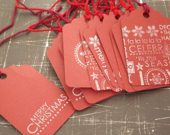 Clearance/Red and White Christmas Tags (15)
