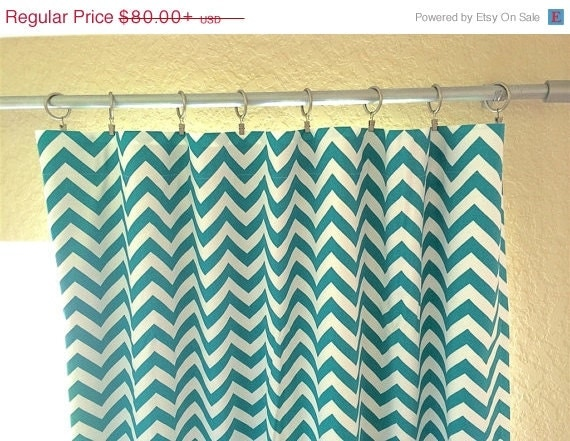 10 Off Sale Turquoise Chevron Drapery Curtain By Thebluebirdshop