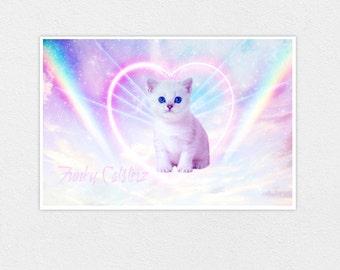 You're In My Heart - 8x12 Kawaii Pastel Galaxy Cosmos Heart Rainbow Cat Print Sweet Kitten Lolita