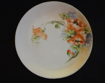 "Vintage Decorator Plate 1930s Lovely hand painted spray of Poppies with black centers - "" JR Hutschenreuther Selb Bavaria"""