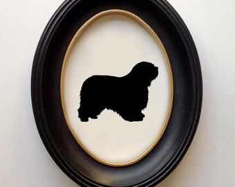 FRAMED Polish Lowland Sheepdog Silhouette - Hand-cut Original Dog Art Design:DOG-PLS01