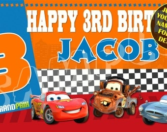 Disney Pixar's Cars 2 World Grand Prix Personalized Birthday Banner  - Just email child's name & age for any design