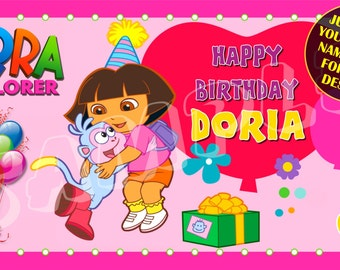 Dora, Dora the Explorer,  Dora the Explorer and Boots, Chalkboard, Personalized Birthday Banner with an optional free printable Invitation