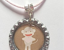 Bottlecap Necklace - Monkey Necklace - Cheeky Monkey - Monkey Jewelry -Bottlecap Jewelry - Gift For Her