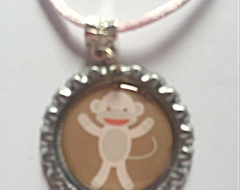 Monkey Necklace - Bottlecap Necklace - Bottlecap Jewelry - Cute Necklace - Monkey Jewelry - Gift For Her - SALE