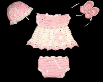 Diaper Dress Set Crochet Baby Girl Dress pink Layette Set knit Baby girl Dress Set Pink Baby Girl Dress Newborn Baby Set Crochet Baby Outfit