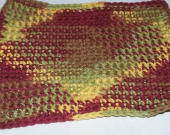 Autumn Leaves Ombre Crochet  dishcloth  Face Cloth Wash Cloth All Cotton