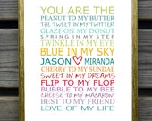 You are the peanut to my butter, Personalized couples art print, Quotes, Couples Name, wedding gift, Bridal Shower Gift