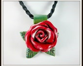 Red Rose Necklace, Rose on Cord, Polymer Clay Rose, Red and Green, Floral Necklace